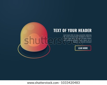 Banner with cool abnormal indicator, alert and attention page, red flasher isometric vector illustration