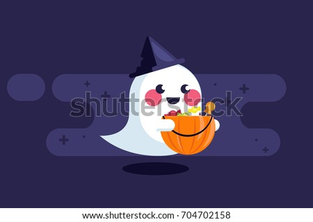 banner with cute ghost hat and