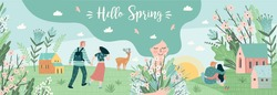 Banner with cute illustrations of people and spring nature. Love, relationships, young people. Vector template.