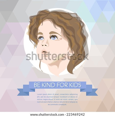 banner with cute kid portrait