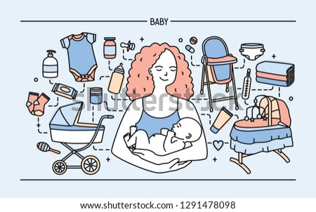 Banner with cute smiling mother holding newborn child surrounded by products and items for infant baby. Parenting, maternity, neonatal care and nursing. Colored vector illustration in line art style.