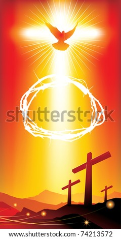 Banner with easter crosses - stock vector