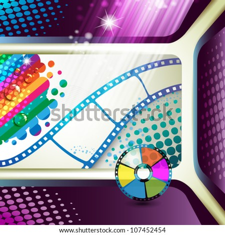 Banner with film frames and colored stars