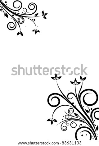 Banner with floral elements on white background