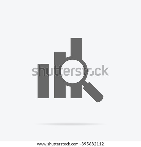 Banner with focused magnifying glass on graph on gray background icon. For web construction, mobile applications, banners, corporate brochures, layouts Stock photo ©
