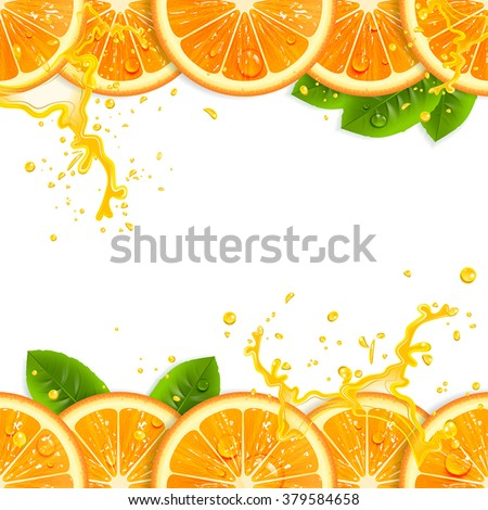 banner with fresh oranges and