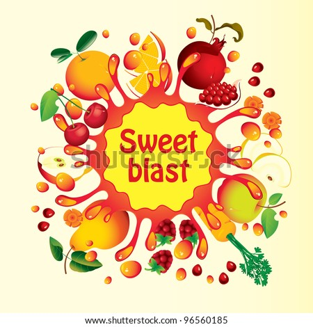 Banner with fruit, and splashes juice - stock vector