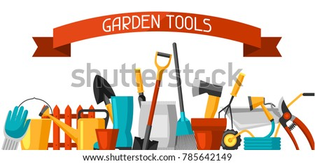 Banner with garden tools and icons. All for gardening business illustration.