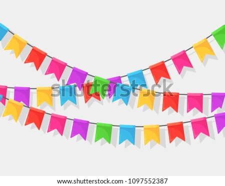 Banner with garland of colour festival flags and ribbons, bunting. Background for celebrate happy birthday party, carnaval, fair. Vector flat design