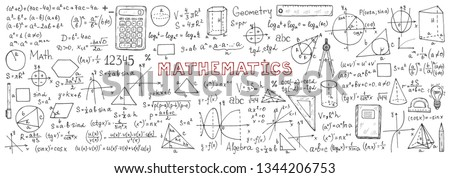 Banner with hand drawn mathematics formules and other elemets. Science collection. Vector doolle illustration