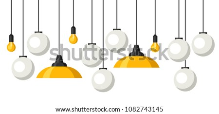 Banner with hanging chandeliers, lamps and lighting fixtures.