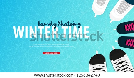 Banner with Ice skates. Figure skating. Texture of ice surface. Winter sports. Vector illustration background