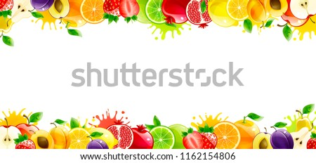 banner with juicy fruits on a
