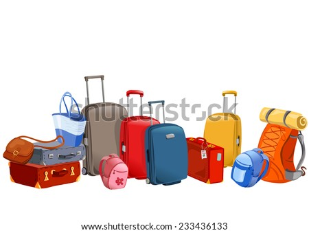 banner with luggage, suitcases, backpacks, packages. vector illustration