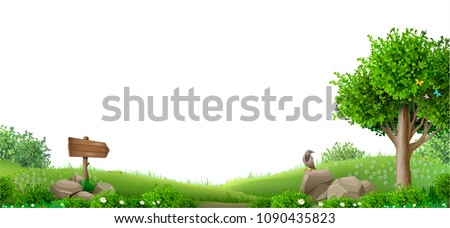 Banner with natural landscape. Fantasy style. Wood and hills. Illustration of a fairy tale. Vector