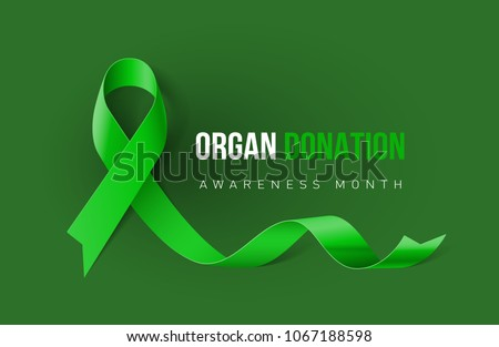 Banner with Organ Transplant and Organ Donation Awareness Realistic Green Ribbon. Design Template for Info-graphics or Websites Magazines on Green Background