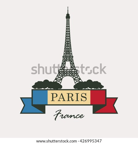 banner with Paris, Eiffel Tower against the French flag
