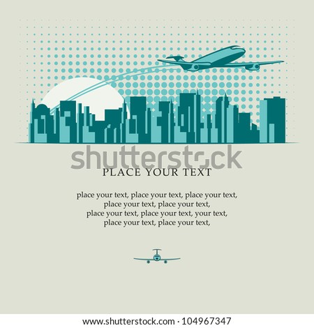 banner with passenger plane flying over major city