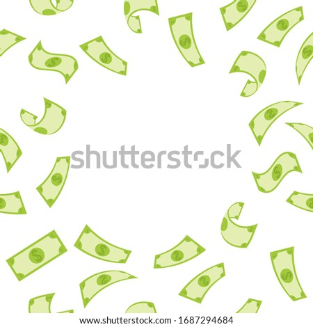 Banner with pattern of money with empty space in the middle for text.  Flying green dollar bill, 3d cash and usd currency. American money float banknotes, banking finance  investment or jackpot win.