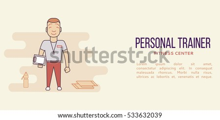 Banner with personal trainer in fitness club. Line flat concept. Sports center flyer, sticker. Vector illustration