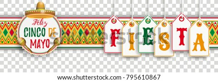 Banner with price stickers, mexican ornaments and colored emblem Eps 10 vector file.