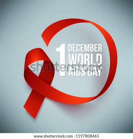 Banner with realistic red ribbon. Poster with symbol for world aids day, 1 december. Design template, vector illustration.