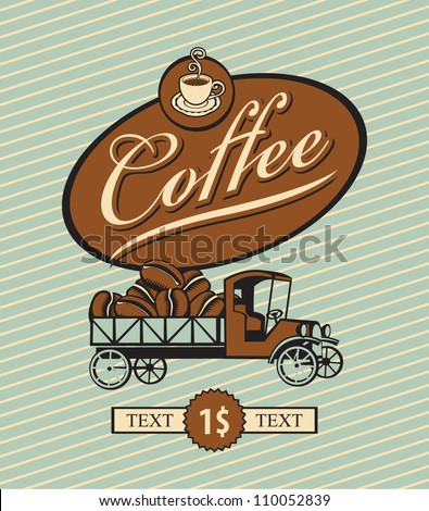 banner with retro truck and coffee beans