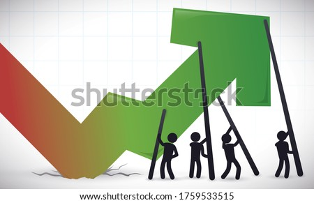 Banner with rising arrow from a crater, depicting teamwork leading and collaborative effort of people and economic sectors to improve the economy recovery after the crisis. Foto stock ©