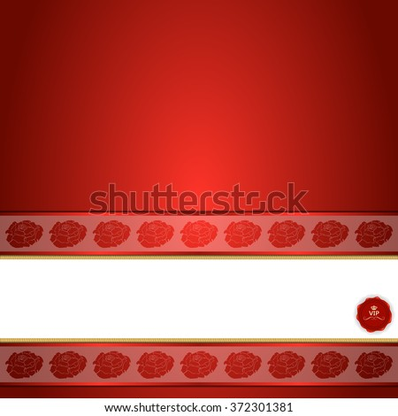 banner with roses and stamp on