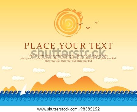 banner with sea, sun and sailing