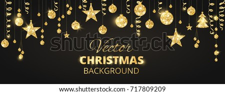 Banner with sparkling Christmas glitter ornaments on black. Golden fiesta border. Festive garland with hanging balls and ribbons. Great for New year party posters, cards, website headers.