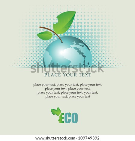 banner with the planet Earth as an apple on environmental issues