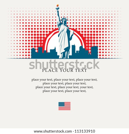banner with the Statue of Liberty on the background of New York, and the sun