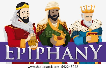Banner with the traditional Three Magi Caspar, Balthazar and Melchior characters holding gifts for Epiphany celebration.
