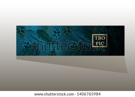 Banner with tropical leaves for beauty salons, spa salons, beauty industry, etc.