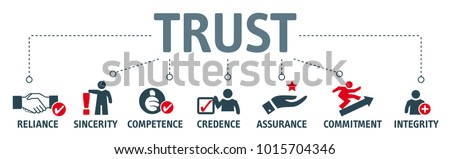 Banner with trust building vector icons. Reliance, sincerity, competence, credence, assurance, commitment and integrity Stock photo ©