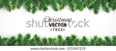Banner with vector christmas tree branches and space for text. Realistic fir-tree border, frame isolated on white. Great for christmas cards, banners, flyers, party posters, headers. #525565129