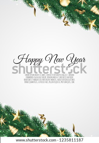 banner with vector christmas tree branches and space for text realistic fir tree border
