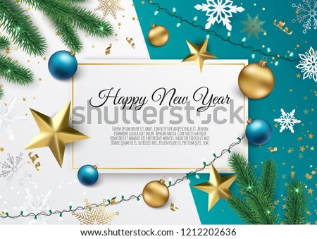 stock-vector-banner-with-vector-christmas-tree-branches-gold-stars-christmas-balls-and-space-for-text