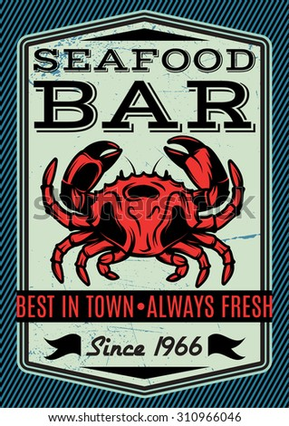 Banner with Vector crab for restaurant menu #310966046