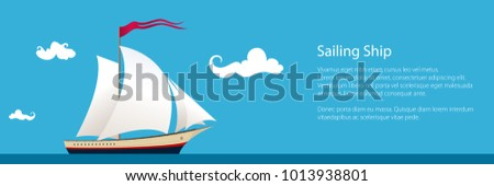 Banner with Yacht on the Waves , Sailing Vessel at Sea and Text, Travel Concept , Vector Illustration