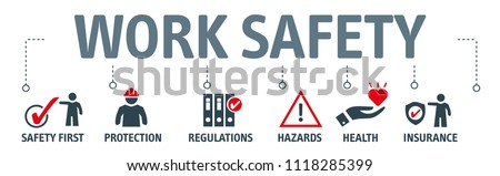 Banner work safety concept, hazards, protections, health and regulations with keywords and icons