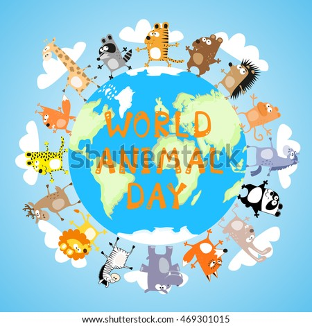 banner world animal day with