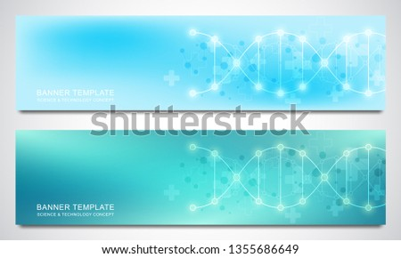 Banners and headers for site with DNA strand and molecular structure. Genetic engineering or laboratory research. Abstract geometric texture for medical, science and technology design