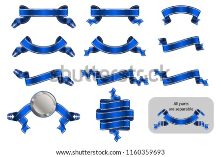 Banners and ribbons set with copy space in shape bending, wave, arc, rise. Solemn heraldic tapes with golden lines. Richly greeting design. Vector isolated realistic illustrations. Version Blue B