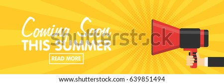 Banners for your website design. Announcement megaphone on vintage pop art background. Sales, discounts and other Components