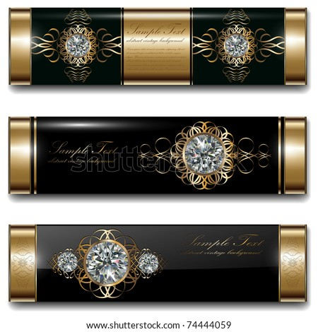 Banners, luxury backgrounds set, gold with diamonds. Vector.