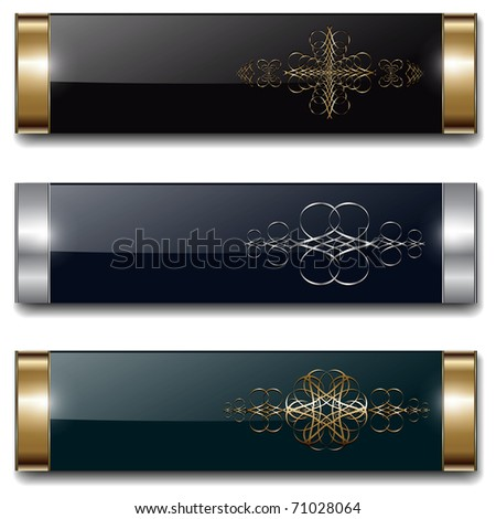 Banners, luxury metallic set, vintage backgrounds design, vector.