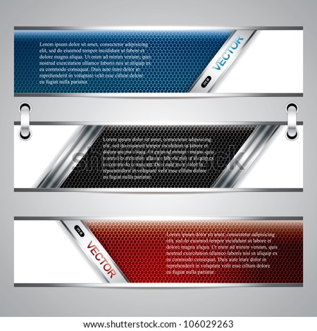Banners, metallic set, modern backgrounds design, vector