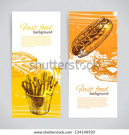 Banners of fast food design Hand drawn illustrations Splash blob backgrounds